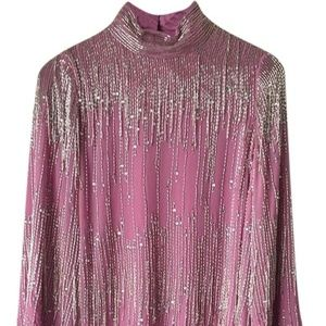 ASOS Pink Long Sleeve Sequin Stunning Casual M